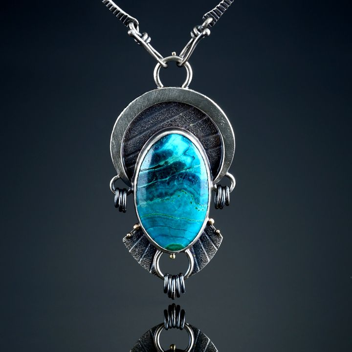 Chrysocolla Centerpiece. Fabricated Sterling Silver and 18k Gold. www.amybuettner.com https://www.facebook.com/pages/Metalsmiths-Amy-Buettner-Tucker-Glasow/101876779907812?ref=hl https://www.etsy.com/people/amybuettner http://instagram.com/amybuettnertuckerglasow