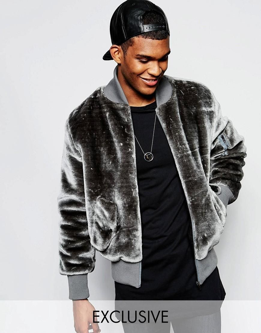 The New County Teddy Bear Bomber Jacket In Faux Fur at asos.com