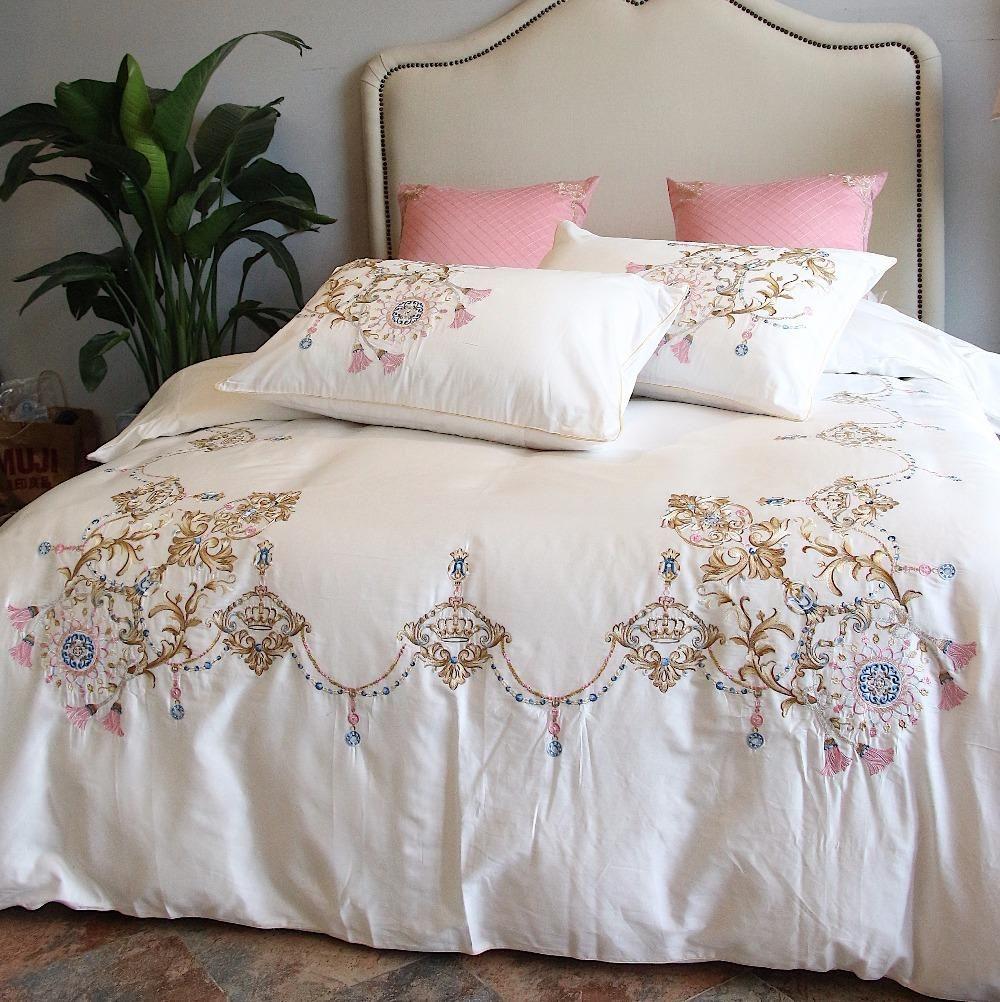 100 Egypt Cotton White Embroidery Luxury Oriental Bedding Set I