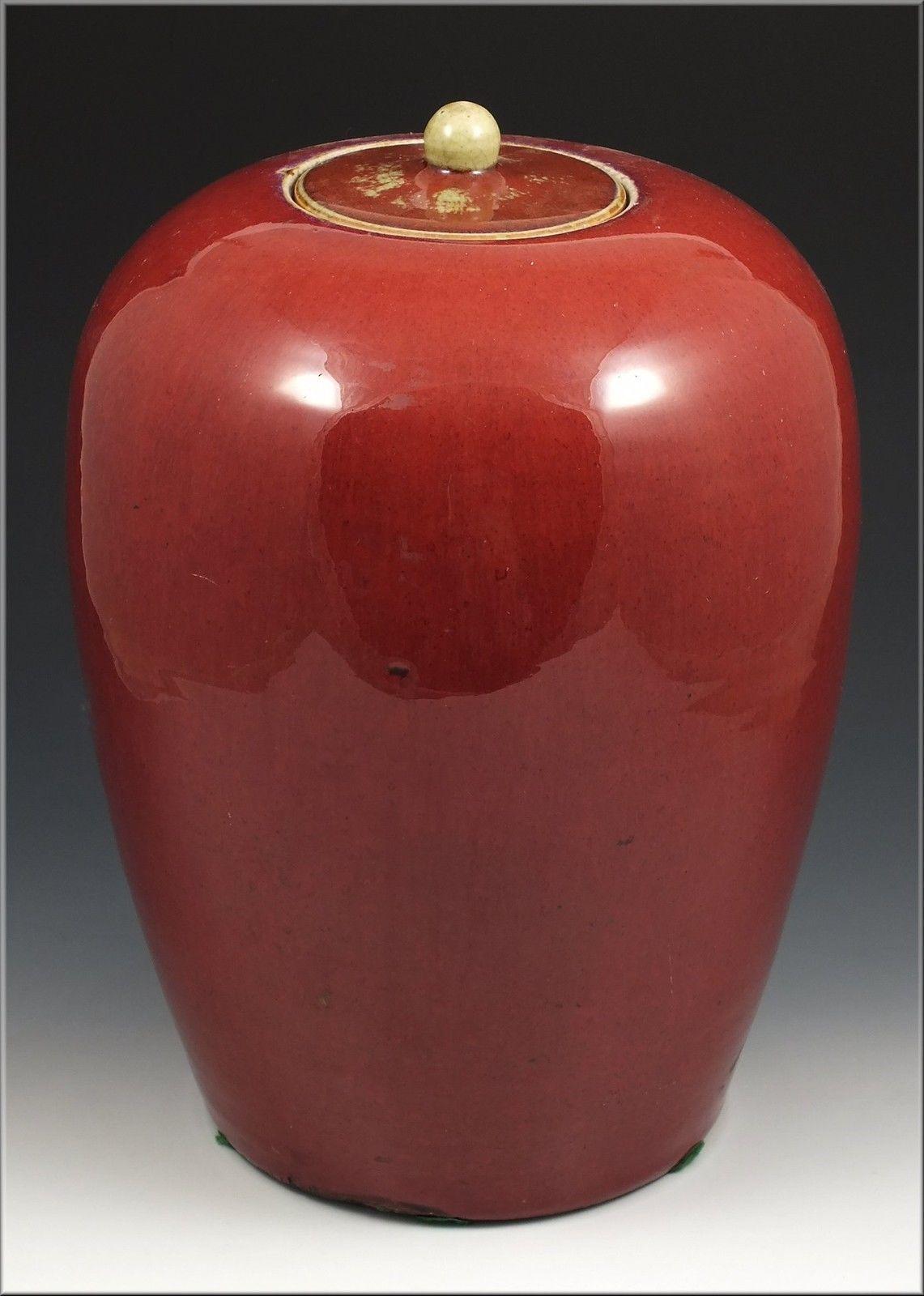 Large 18 19thc Antique Chinese Porcelain Sang De Boeuf Oxblood Glaze Covered Jar Vase Project Chinese Pottery Chinese Porcelain Vase