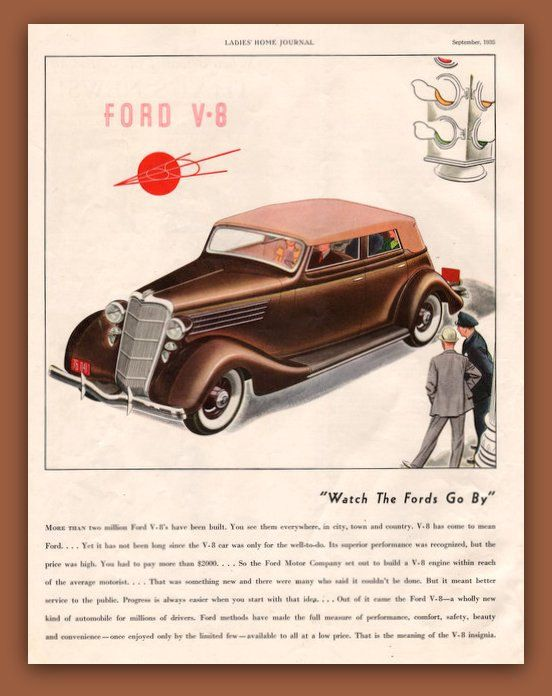 1935 Ford V-8 vintage magazine ad two tone by catchingcanaries