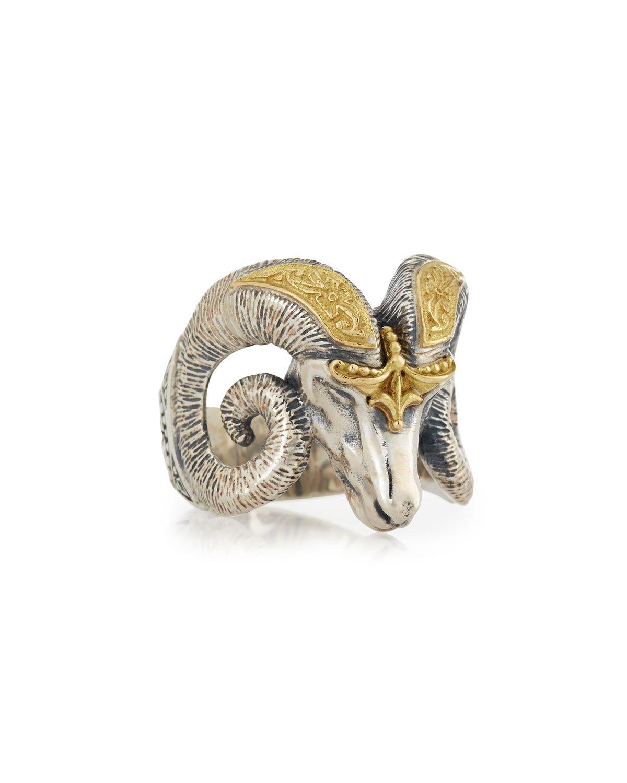 Men's Minos Ram Head Ring, Size 10, Sterling Silver/G - Konstantino