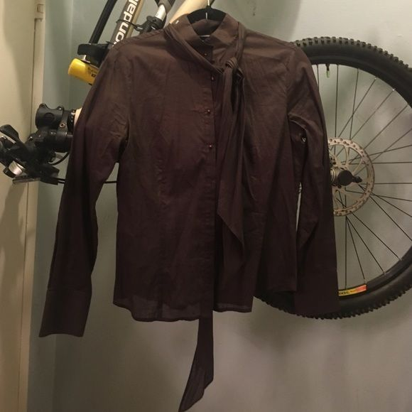 Tahari blouse chocolate color size small Neck sash/tie included Tahari Tops Blouses