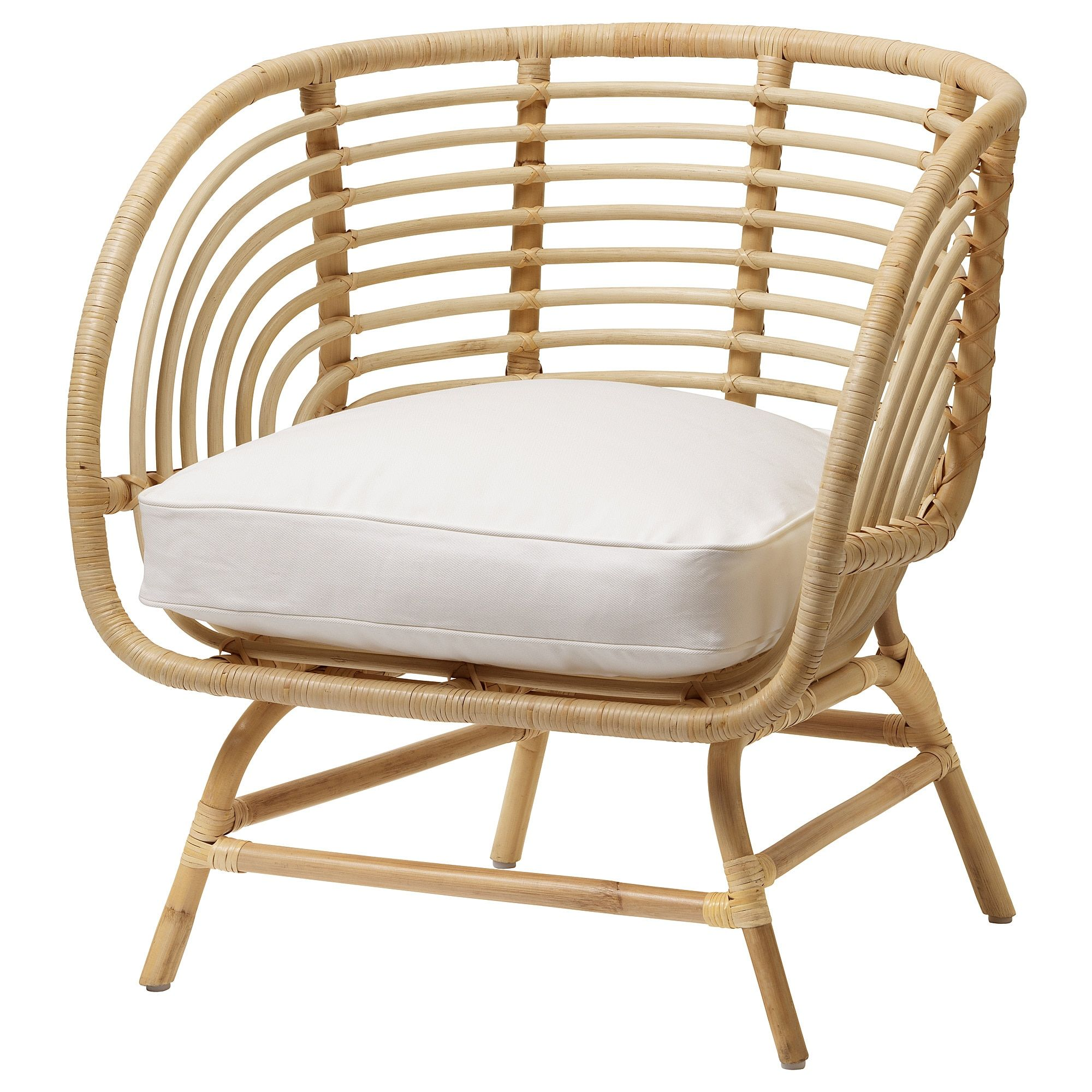BUSKBO Armchair rattan, Djupvik white Rattan armchair