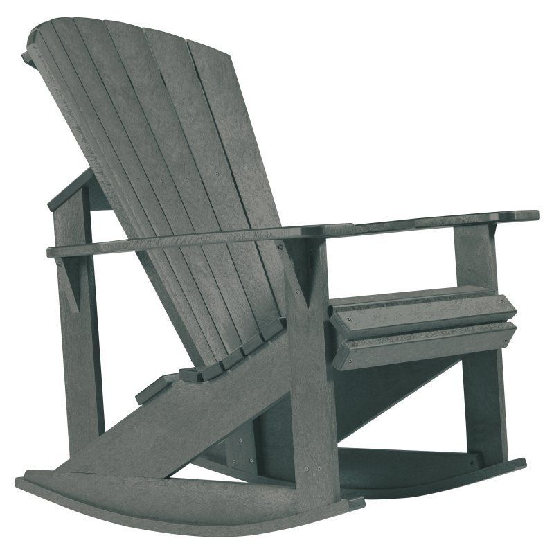 Outdoor CR Plastic Generations Recycled Plastic Adirondack Rocking Chair  Slate Grey   C04 18
