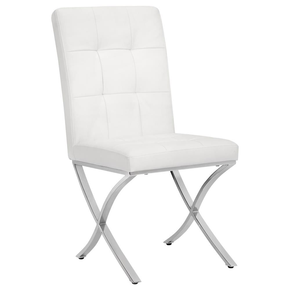 Faux Leather Quilted Dining Chair With X Shaped Metal Legs Chairs
