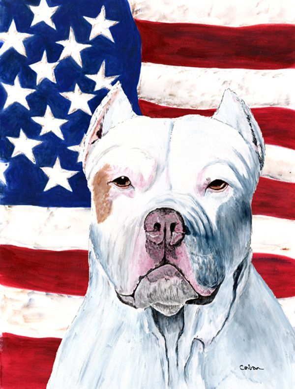 American Flag with Pit Bull 2-Sided Garden Flag