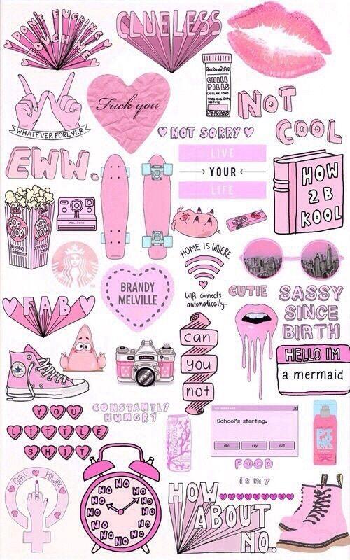 pink, wallpaper, and girly image Adesivi tumblr, Adesivi