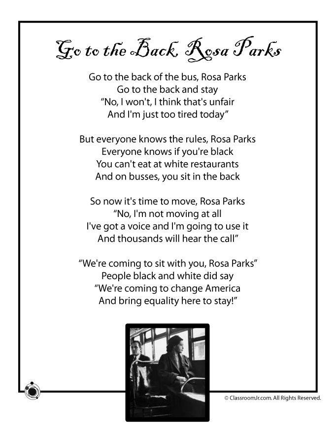 Kids Poems for Black History Month Kids Poem Rosa Parks Black