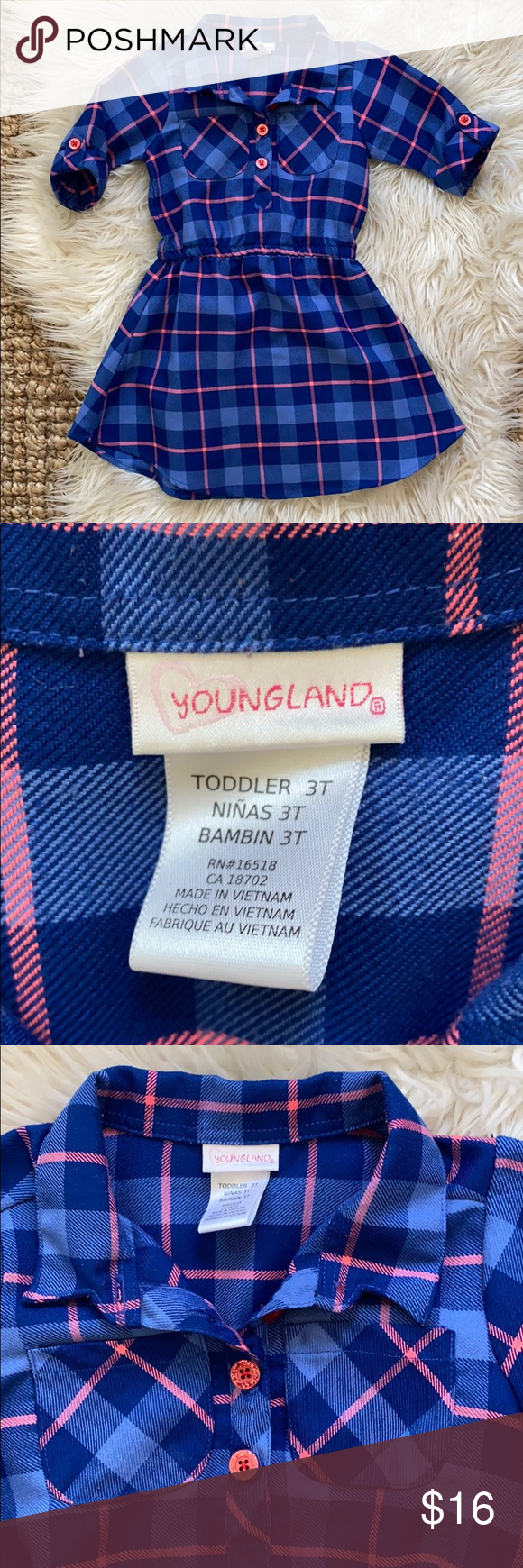 Youngland swing shirt dress girls blue pink plaid Youngland blue and pink plaid swing skirt shirt dress. Girls size 3T. Glittery pink buttons. Elastic waist. Faux button cuff sleeves. A little bit of pilling but in great condition. Smoke free home. Bundle and save. Youngland Dresses