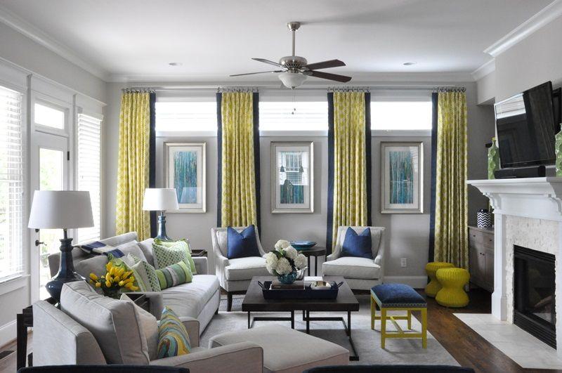 Jennifer Reynolds Interiors Window Treatments Living Room Blue And Yellow Grey