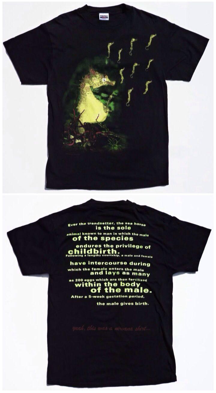 6d858bd33 NIRVANA seahorse T-shirt | Aqua Seafoam Shame ♔ | Nirvana, Kurt ...