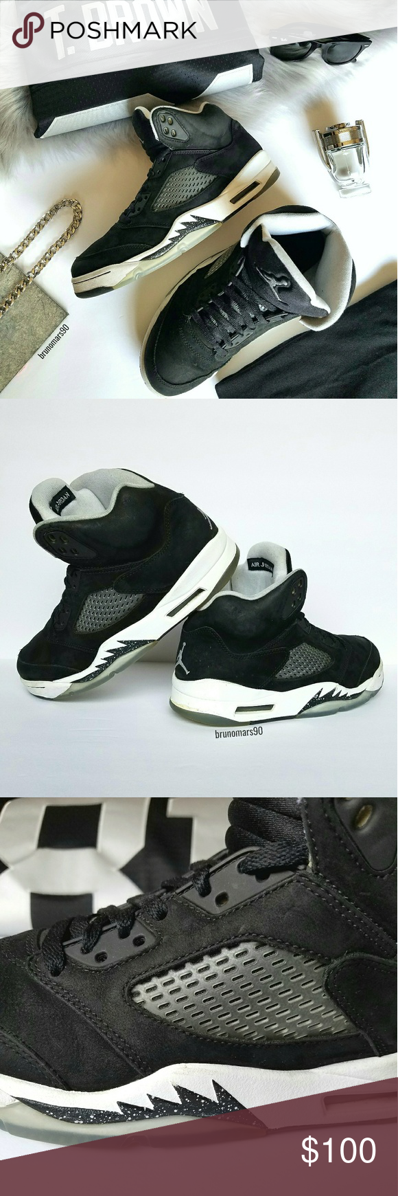 a74d2b79d5c25b 🎉HP🎉 Air Jordan 5 Oreo Sneakers Men s black suede shoes. Worn a few times  without box. Some wear around outer white edges with some peeling on back  of ...