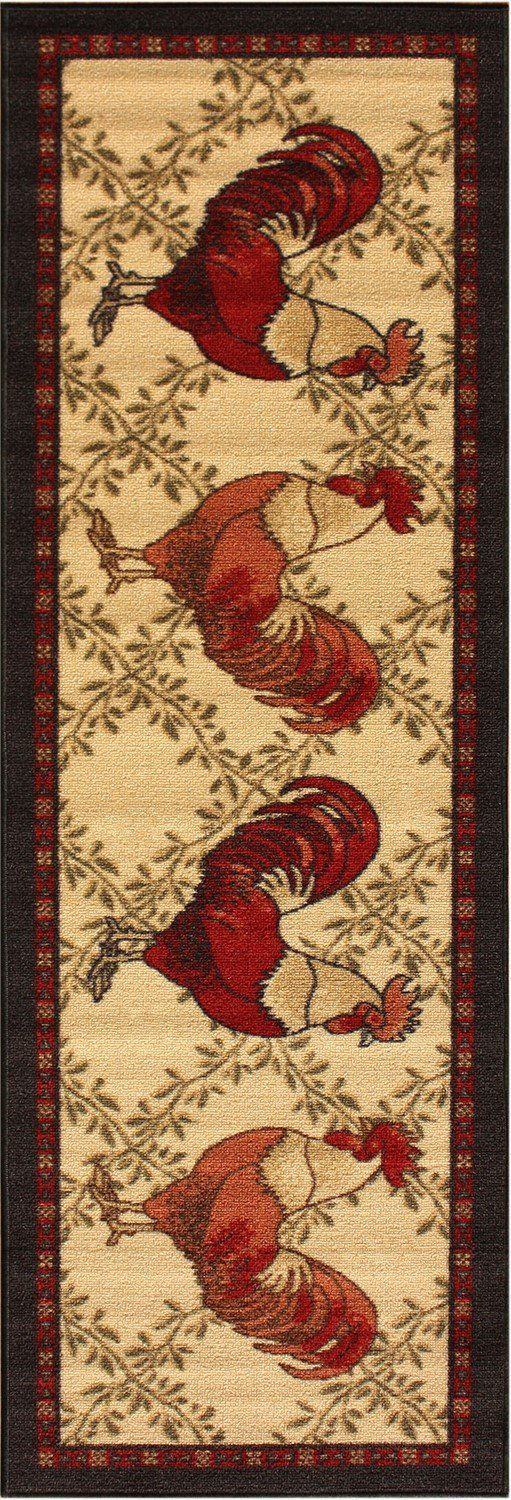 Rooster Runner Rug With Beige As Main Color And Black Border Measures 20 Inches X 50 Machine Washable