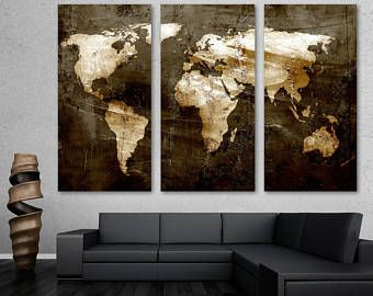 Rustic world map 3 panel split triptych canvas print wall art rustic brown world map canvas print wall art 3 panel split triptych home gumiabroncs Image collections