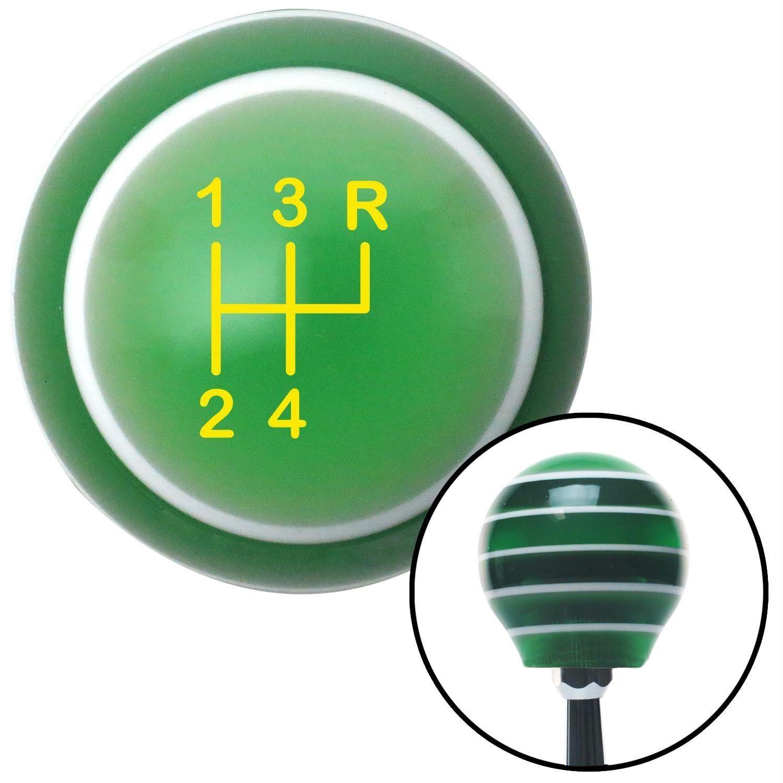 Yellow Shift Pattern 7n Green Stripe Shift Knob with M16 x 15 Insert