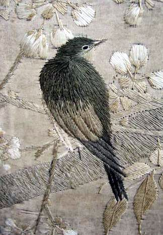 Classic long stitch embroidery, beautifully rendered. Too bad the artist has not been recognized.