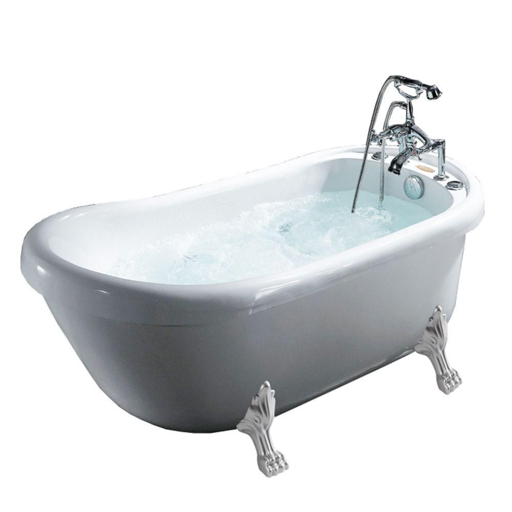 Ariel 5.58 ft. Whirlpool Tub in White-BT-062 - The Home Depot ...
