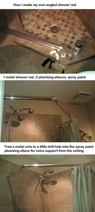 Diy Neo Angle Shower Rod.When I Didn T Feel Like Paying 120 For A Angled Shower Rod