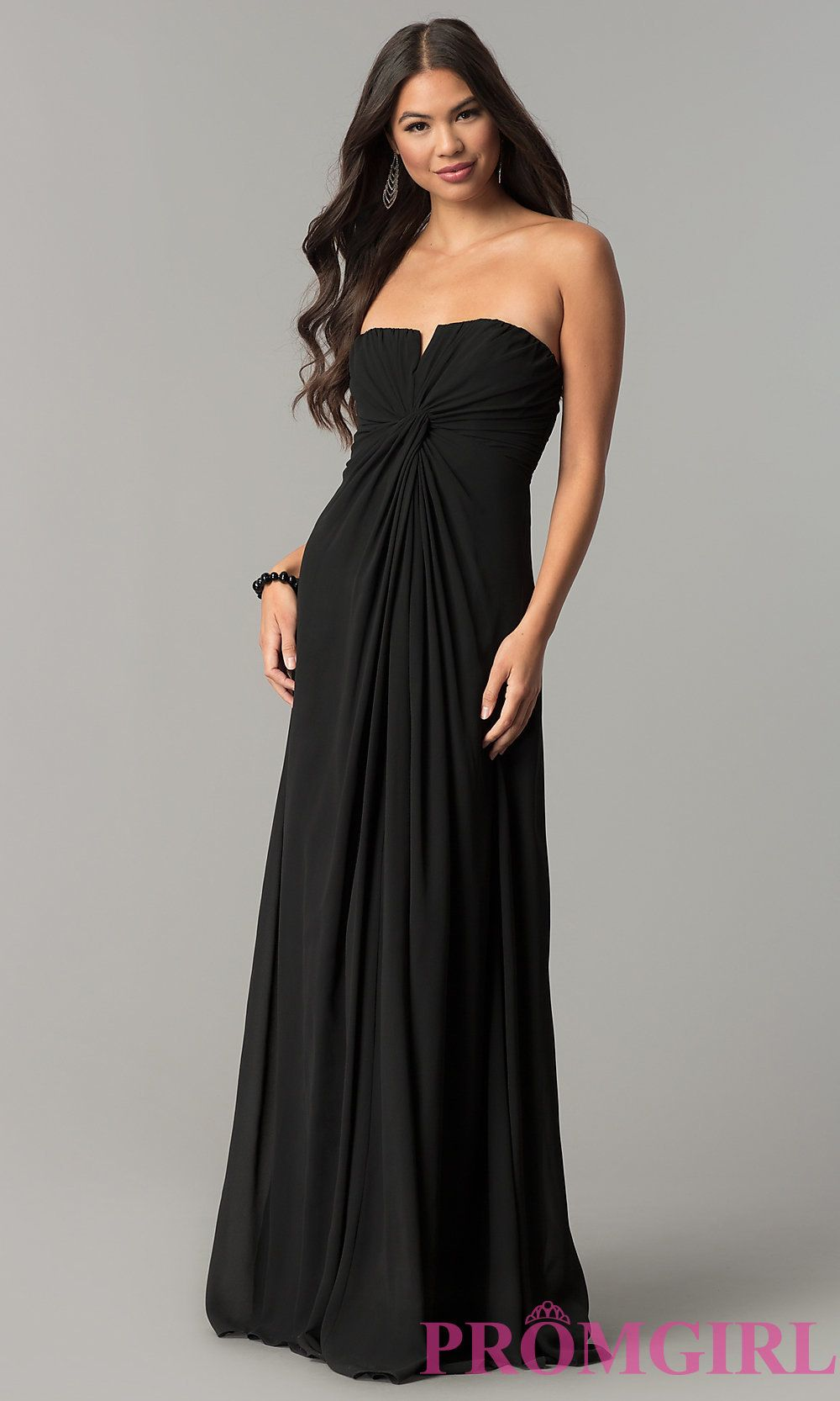 Image of strapless long prom dress with knotted empire front style
