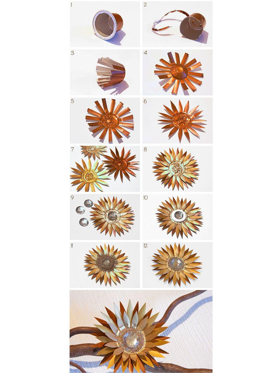 flores con cápsulas de café nespresso
