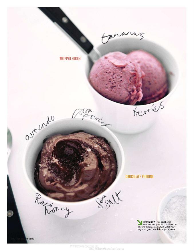 Raw ice creams - avocado chocolate and banana berry sorbet.