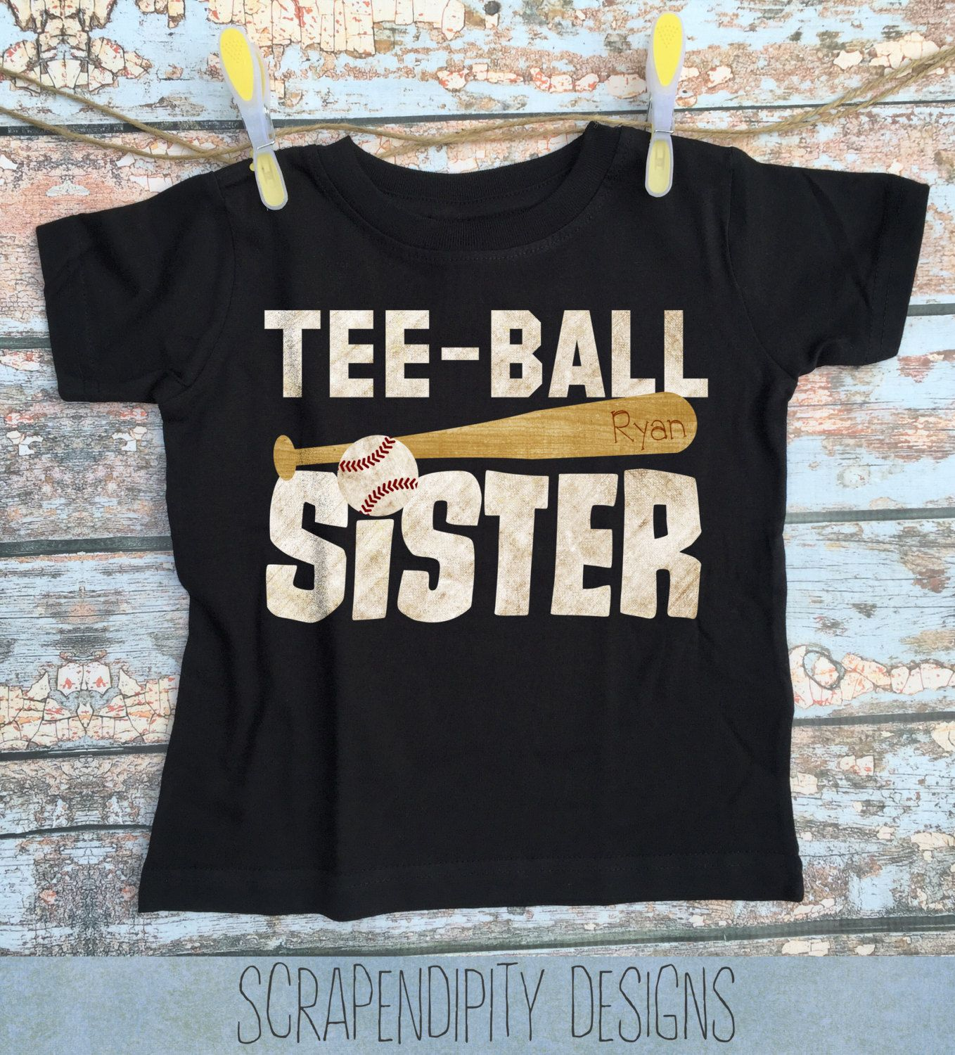 a71a4964dbe0 Teeball Sister Shirt - Girls T-Ball Outfit   Toddler Tee Ball Shirt    Teeball Family Clothes   Customized Tshirt   Tee Ball Brother Shirt by  Scrapendipitees ...