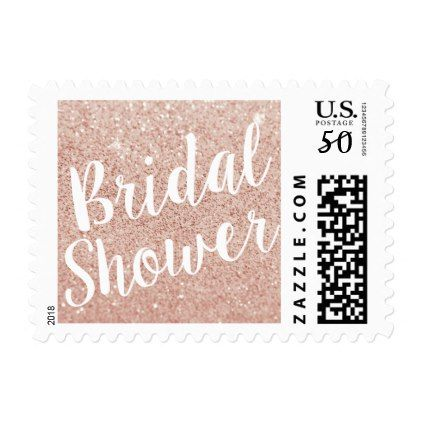 rose gold pink glitter bridal shower stamp script gifts template templates diy customize personalize special