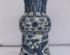 Amazing Antique Chinese Blue and White by RealRareAntiques on Etsy