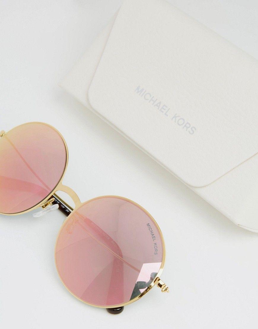 a3e1b45593d9 Image 2 of Michael Kors Kendall II Round Flash Lens Sunglasses ...