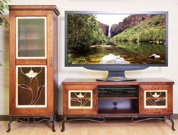 meubles t l de forge design tv stand bois vitrail et fer forg wood painted glass and iron. Black Bedroom Furniture Sets. Home Design Ideas