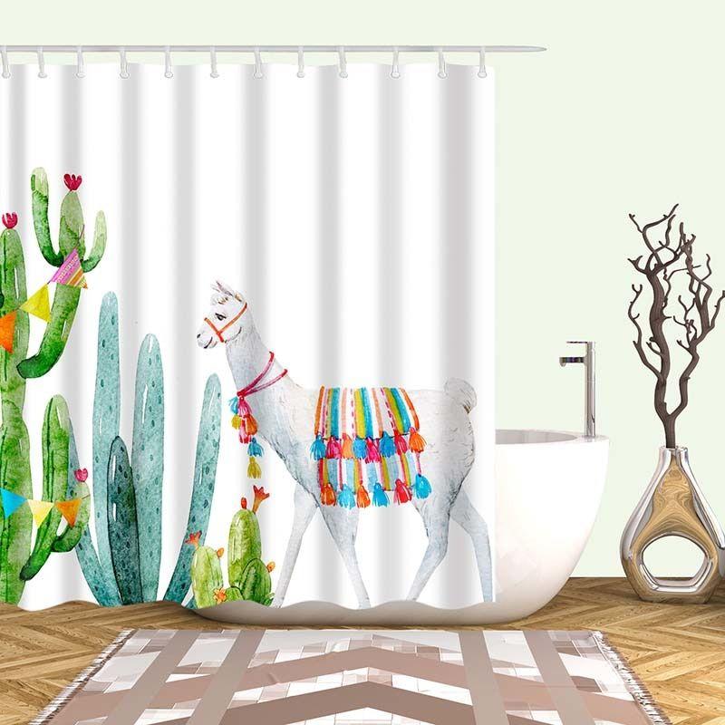 Tropical Cactus Shower Curtain Polyester Fabric Bath Curtain For