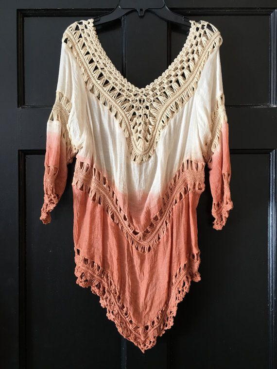 1ae5fb770e4 Bohemian crochet cotton Indian rust apricot ombre dyed festival boho blouse  top 70s gypsy