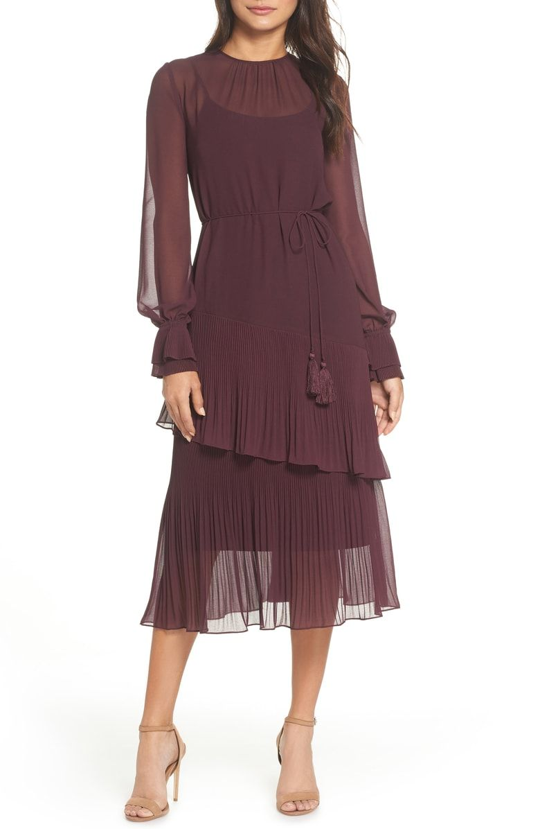 e3da9d64 Free shipping and returns on Chelsea28 Pleat Detail Midi Dress (Regular &  Plus Size) at Nordstrom.com. <p>Semi-sheer georgette defines a winsome  silhouette, ...