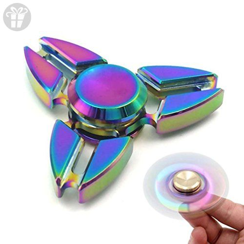 Fidget Spinner ILoveCos Hand Rainbow Triple Claw Metal Tri Novelty Toys For Adults Kids Anxiety Stress Relief