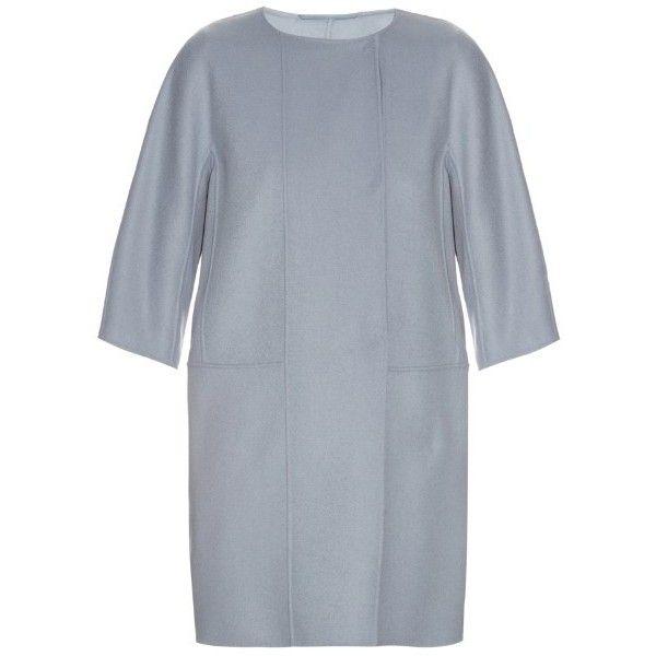 S Max Mara Lira coat (44.085 RUB) ❤ liked on Polyvore featuring outerwear, coats, light blue, blue coat, cropped wool coat, reversible wool coat, woolen coat and blue wool coat