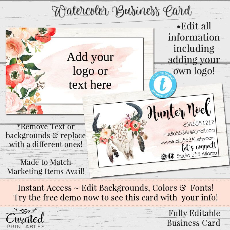 Skull Feather Watercolor Business Card DIY Business Card - Diy business card template