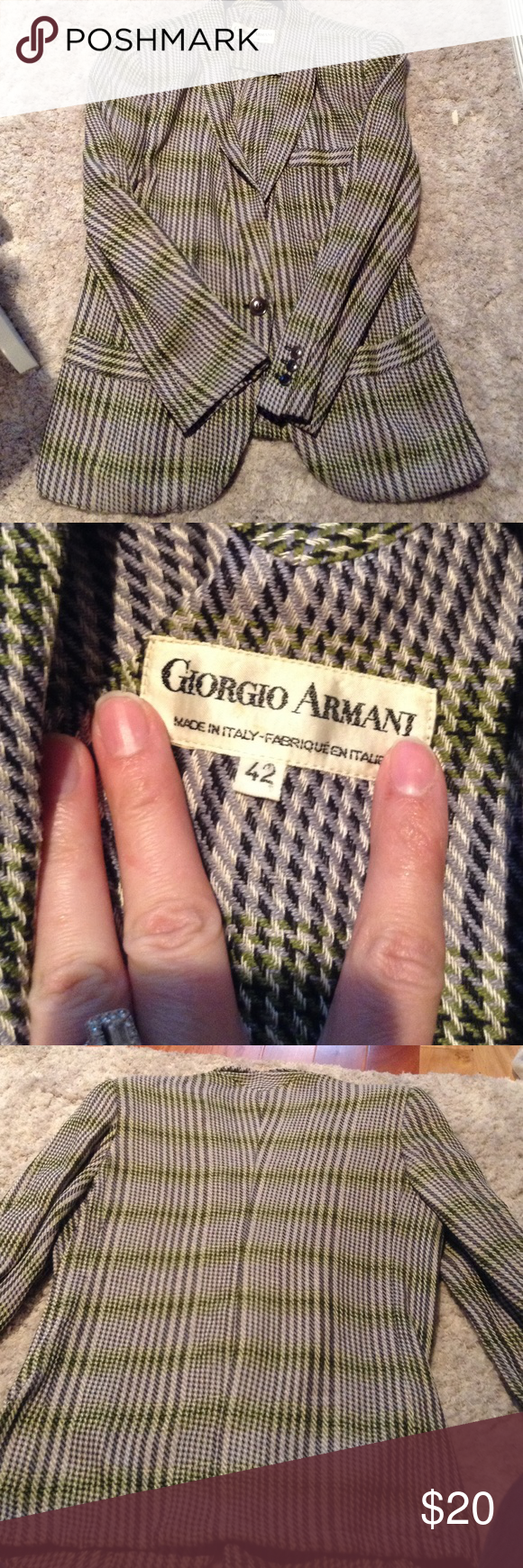 Vintage Armani blazer Cute gray, black, green blazer!  One button closure one breast pocket and two lower pockets.  Good vintage condition! Size 42 Giorgio Armani Jackets & Coats Blazers