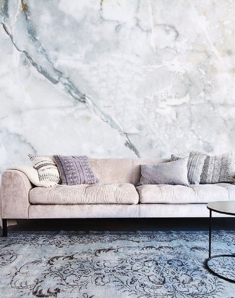 White Marble Wallpaper Removable Mural, Self Adhesive