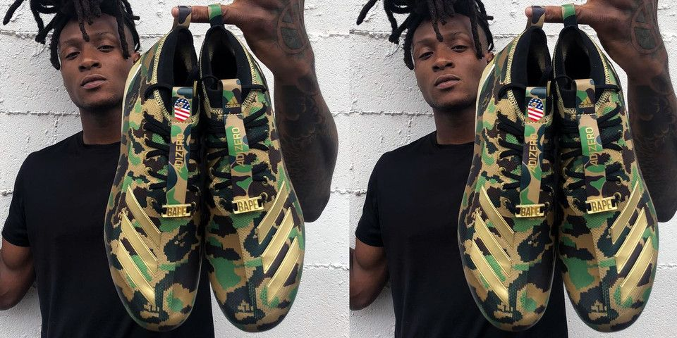 7a6b9cb053 BAPE x adidas adizero Football Cleats Revealed By DeAndre Hopkins  A first  look at the upcoming collaborative footwear.