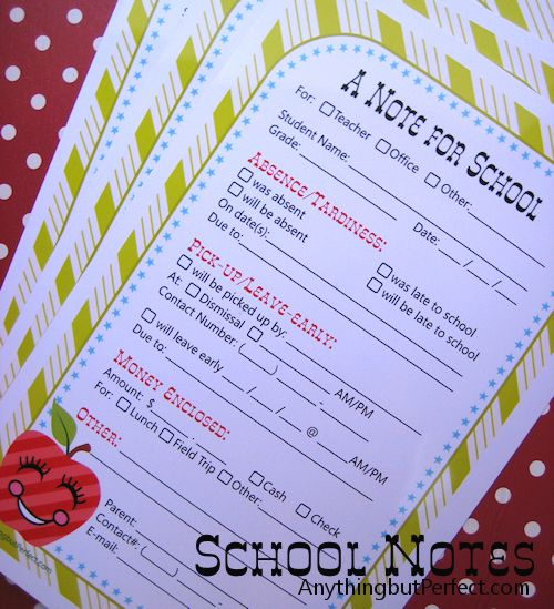 Exclusive Free Printables School notes, School and Note - absence note