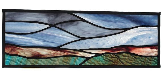 Stained Glass Panel Of Landscape At Sunrise By Solarresonance