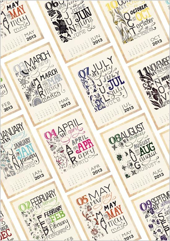 Typography Printable Calendar : Typography calendar crafts diy pinterest