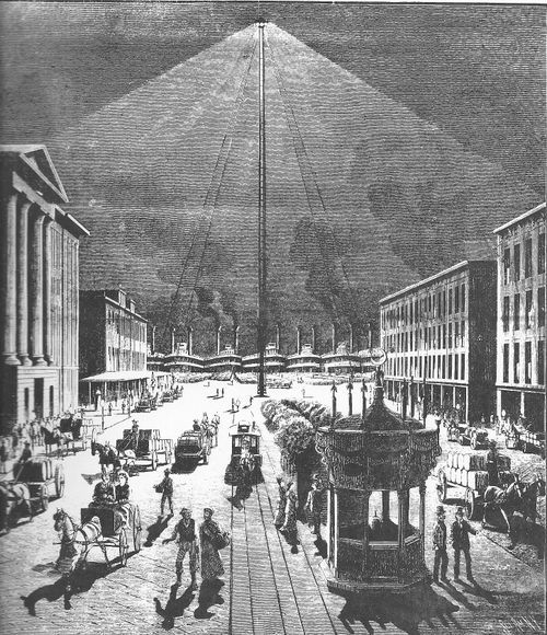 In The Late 1800s Arc Lamps Provided Light To Many Cities Two Pieces Of