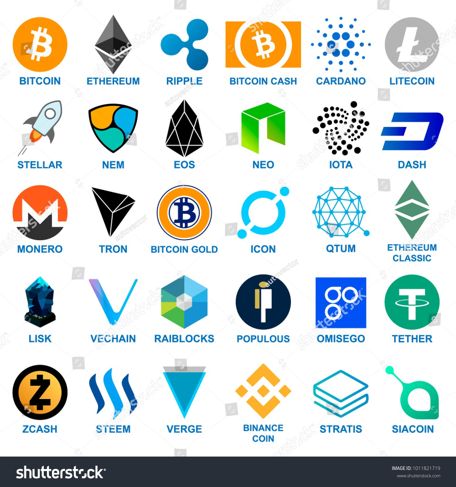 Cryptocurrency logo set. Blockchain cryptocurrency