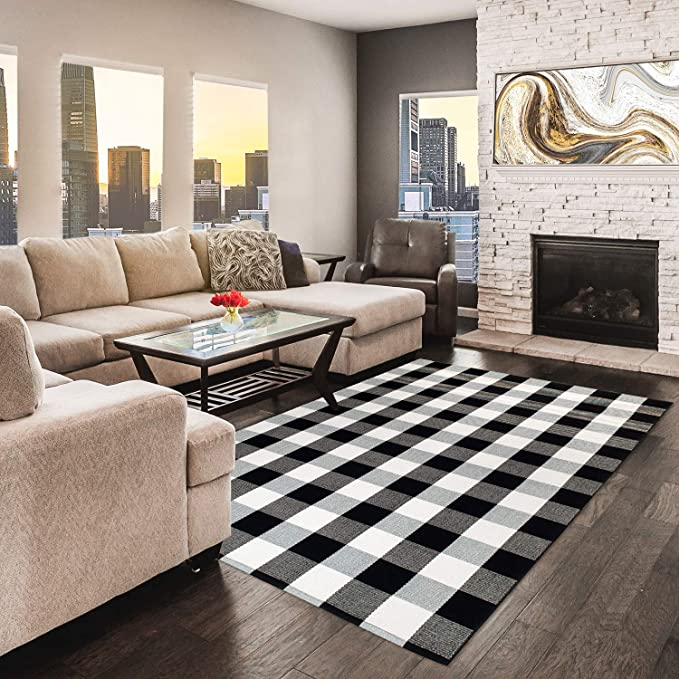 Amazon Com Nanta Cotton Buffalo Plaid Check Rug 47 3 X 70 8 4 X 6 Black And White Area Rug For In 2020 Rugs In Living Room Living Dining Room Living Room Carpet