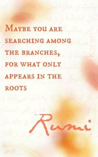 Maybe you are searching among the branches, for what only appears in the roots. Rumi.   Quotes ...