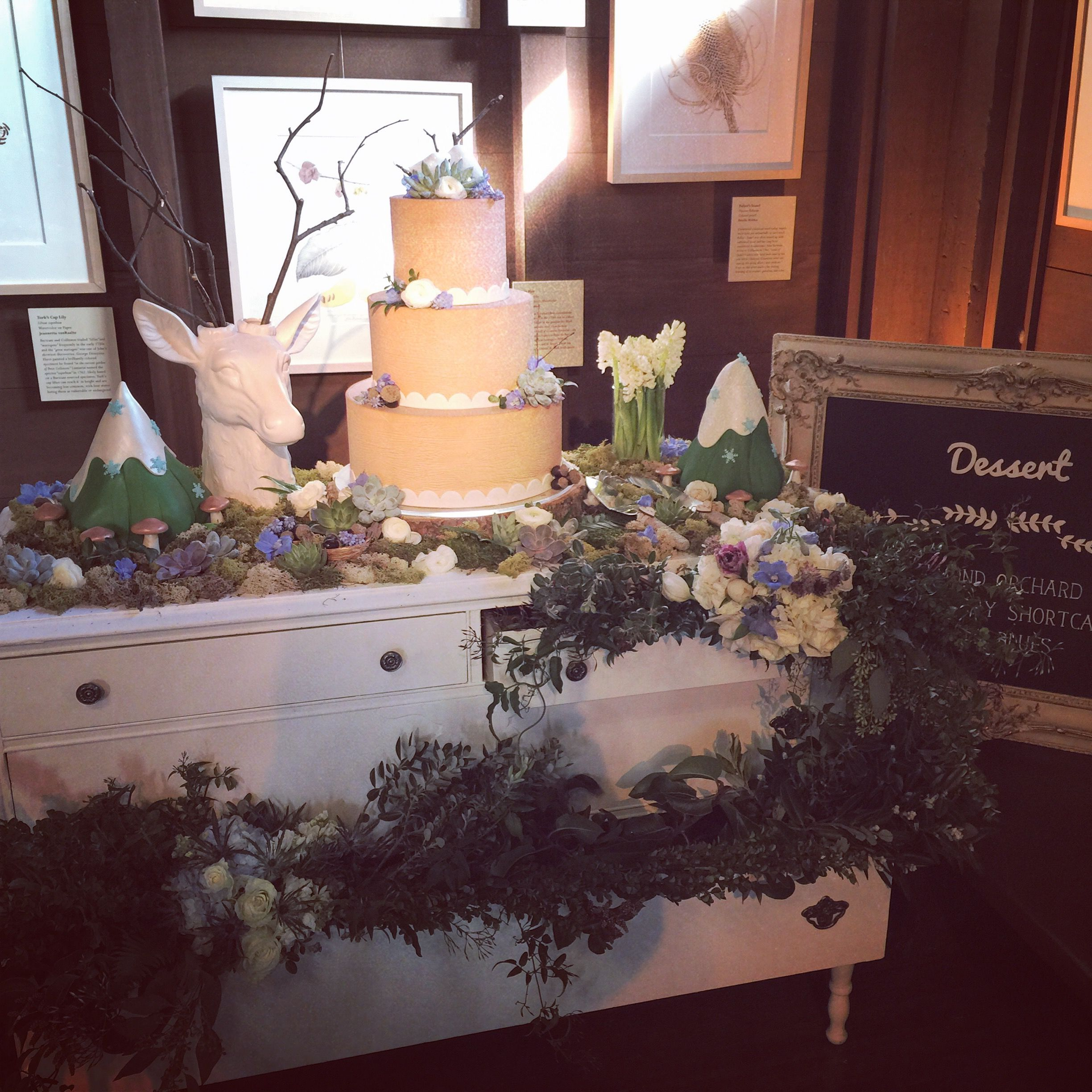 Deer Decorated Wedding Cake In Woodland Themed Wedding Event