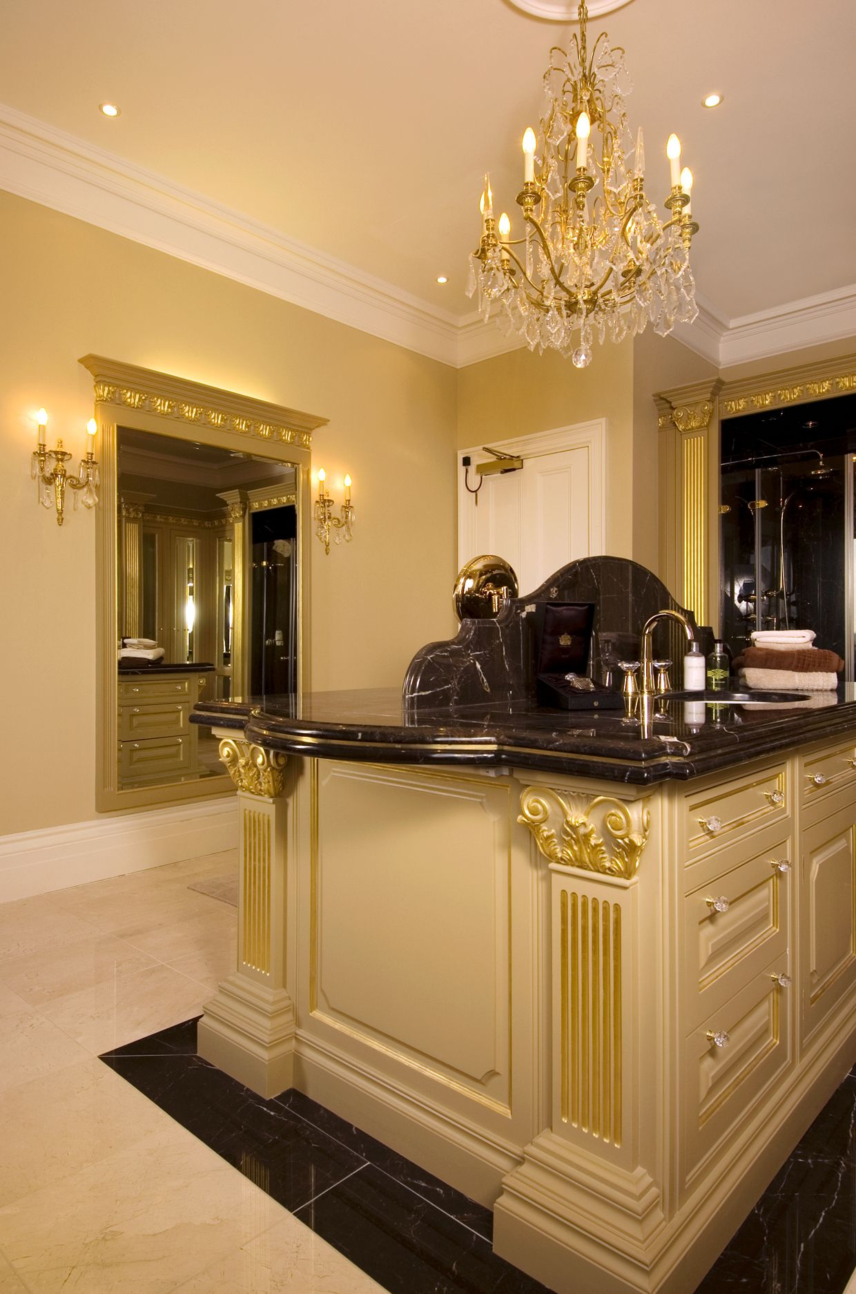 Clive Christian Master Bathroom Chandelier above island Designed
