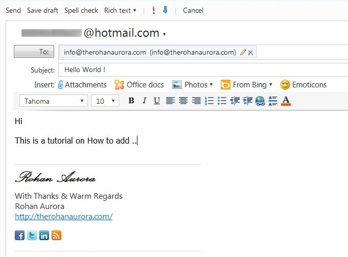 How To Add Social Media Icons to Personal Hotmail Signature ...